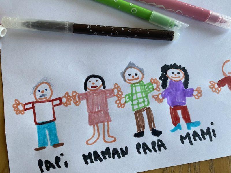 Fresque Famille dessins enfants